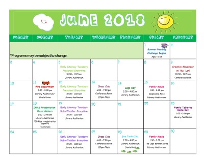 June 2018 Calendar Updated